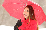 Beauty woman in red in winter