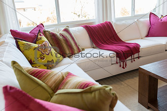 Abstract of Inviting Colorful Couch Sitting Area