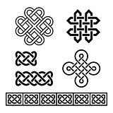 Celtic Irish patterns and braids - vector
