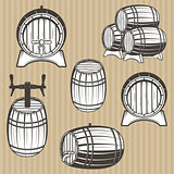 Vector set of barrels in vintage style.