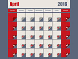 Gray Red colored 2016 april calendar