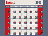 Gray Red colored 2016 august calendar