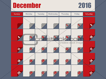 Gray Red colored 2016 december calendar