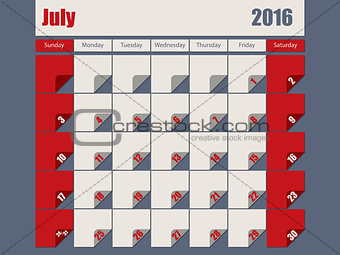 Gray Red colored 2016 july calendar