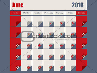 Gray Red colored 2016 june calendar