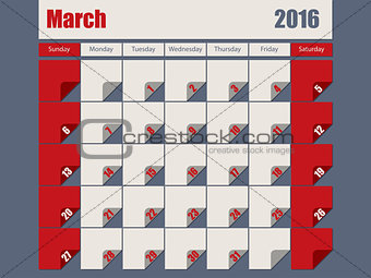 Gray Red colored 2016 march calendar