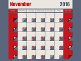 Gray Red colored 2016 november calendar