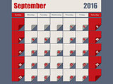 Gray Red colored 2016 september calendar