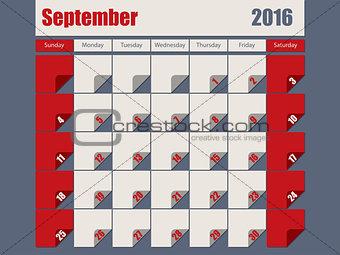 Gray Red colored 2016 september calendar