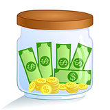 Saving money jar. Vector illustration.