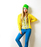 Hipster Girl at White Background. Spring Fashion. Not Isolated.