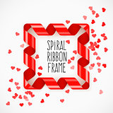 Square frame of red spiral ribbon with hearts confetti