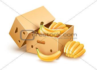 Cardboard box with banana fruits