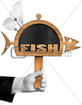 Blackboard Fish Shaped with Hand of Chef