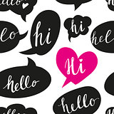 Speech bubbles with Hello word seamless pattern.