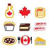 Canadian food icons - maple syrup, poutine, nanaimo bar, beaver tale, tourtiere