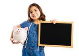 Girl holding a piggybank