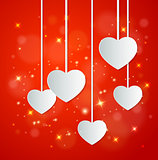 Red background with paper hearts