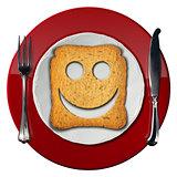 Happy Breakfast Concept - Smiling Rusk