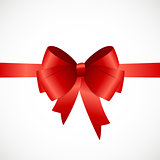 Gift Card with Red Ribbon and Bow. Vector illustration