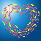 Fish shoal forming heart