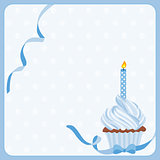 Birthday boy cake background with one candle