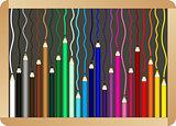 Colored pencils on school board