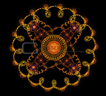 Abstract fractal fantasy yellow rounded  pattern and shapes.