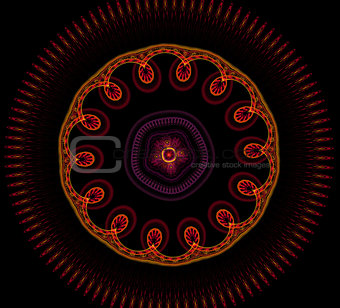 Abstract fractal fantasy red with yellow  pattern and shapes.