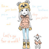 Vector cute girl with dog