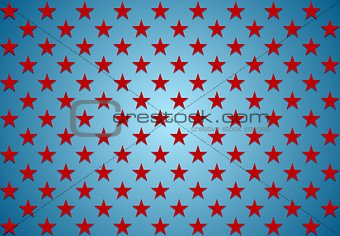 Abstract red stars on blue background