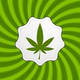 Green retro cannabis design element