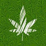 White grunge cannabis leaf on green pattern