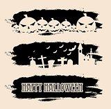 Halloween black grunge banners
