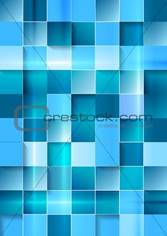 Bright geometric tech blue squares background