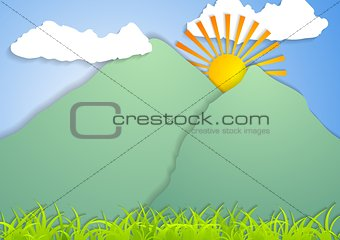 Flat landscape abstract vector background