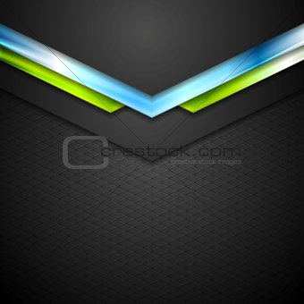 Abstract technology background with blue green arrows