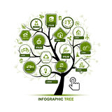 Infographic concept -  tree with ecology icons for your design