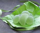 Green homemade fruit jellies jujube marmalade with mint flavor