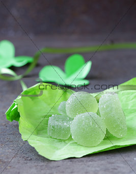Green homemade fruit jellies jujube marmalade with mint flavor