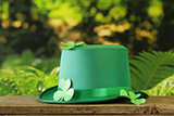 traditional symbols for Patrick's Day - green hat, clover