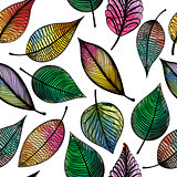 Seamless pattern with abstract colorful leaves. Vector illustration.