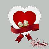 Heart card ribbon and roses