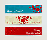 Valentines Day Horizontal Banners Set with Hearts