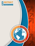 Orange blue brochure with arrows and globe