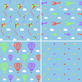 Vector seamless pattern set with helicopters, hot air balloons, kites and stars