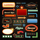Retro Showtime Signs Design Elements Set. Bright Billboard Signage Light Bulbs, Frames, Arrows, Icons and Neon Lamps