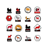 Set of labels with dogs for your design