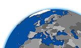 Europe on globe political map