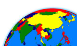 southeast Asia on globe political map